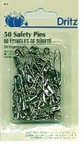 Safety Pins Brass and Steel 50/Pkg
