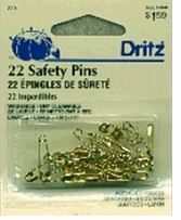 Safety Pins Brass Assorted Sizes 22/Pkg