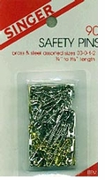 Safety Pins Brass Steel Assorted 90/Pkg
