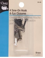 Sew-On Hook and Eyes 5/8in Assorted Black and Nickel