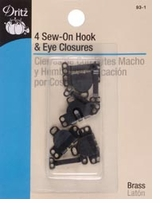 Sew-On Hook and Eyes 5/8in Black