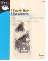 Sew-On Hook and Eyes 5/8in Nickel