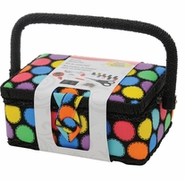 Sewing Basket Bright Dots 7.25inx3.5inx5in