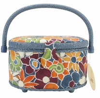 Sewing Basket Oval Dark Floral
