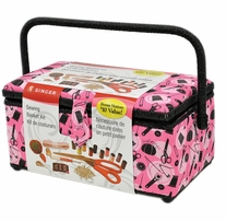 Sewing Basket Pink Notions 11.5inx6inx6.5in