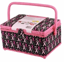 Sewing Basket Pink Ribbons 10.5inx6inx7.5in