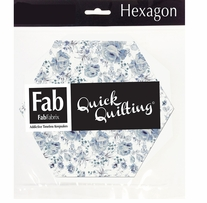 "Shabbylicious Fabric Hexagons Blue 6""X6"" 42pcs"
