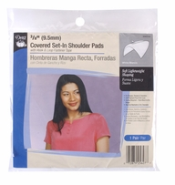 Shoulder Pads White 3/8in Covered Set-In with hook and loop tape