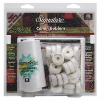 Signature Machine Quilting Cone and M Bobbin Pack White