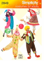 Simplicity Adult Clown Costumes #2849A