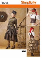 Simplicity Misses Steampunk Costume 6, 8, 10, 12 #1558HH