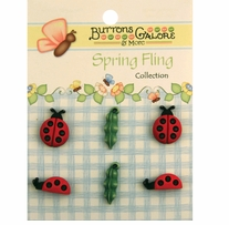 Spring Buttons Ladybugs 6/pkg