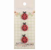 Spring Buttons Ladybugs 3/pkg