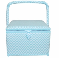 Square Sewing Basket Aqua Chevron 11-3/4inx11-3/4inx8-1/4in