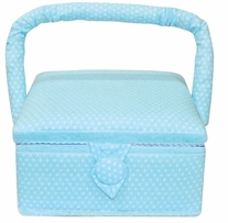Square Sewing Basket Aqua with White Dots 7-1/2inx7-1/2inx4in