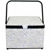 Square Sewing Basket Black & White Floral 11-3/4inx11-3/4inx8-1/4in