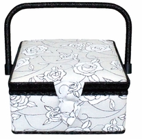 Square Sewing Basket Black & White Floral 7-1/2inx7-1/2inx4in