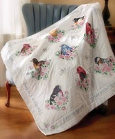 Stamped Cross Stitch Lap Quilt Songbirds - Click to enlarge