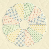 Stamped Ecru Quilt Blocks Interlocking Dresden Circle