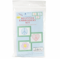 Stamped Embroidery Kit Beginner Samplers Peace Signs