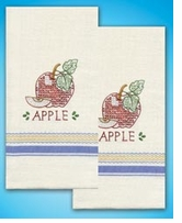 Stamped Kitchen Towels For Embroidery Apple