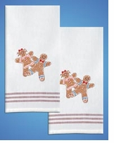 Stamped Kitchen Towels For Embroidery Gingerbread