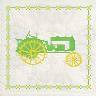 Stamped Quilt Blocks Green Tractor