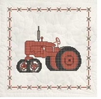 Stamped Quilt Blocks Red Tractor