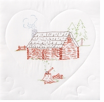 Stamped White Quilt Blocks Cabin