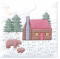 Stamped White Quilt Blocks Cabin and Bears