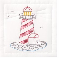 Stamped White Quilt Blocks Lighthouse