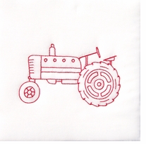 Stamped White Quilt Blocks Old Tractor 9in x 9in