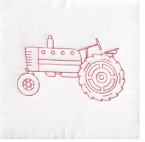 Stamped White Quilt Blocks Old Tractor