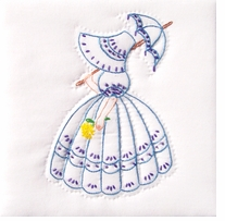 Stamped White Quilt Blocks Parasol Lady 9in x 9in