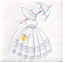 Stamped White Quilt Blocks Parasol Lady