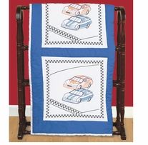 Stamped White Quilt Blocks Race Cars 18inX18in