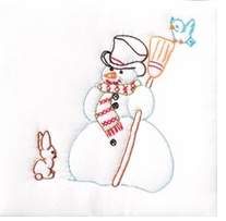 Stamped White Quilt Blocks Snowman