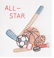 Stamped White Quilt Blocks Sports