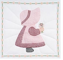 Stamped White Quilt Blocks Sunbonnet Girl #395