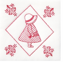 Stamped White Quilt Blocks Sunbonnet Sue