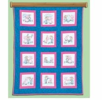 Stamped White Quilt Blocks Sunbonnet Sue & Sam 9inx9in 12/Pkg
