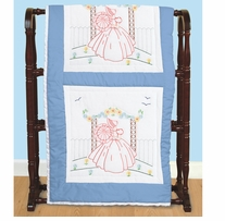 Stamped White Quilt Blocks Vintage Lady