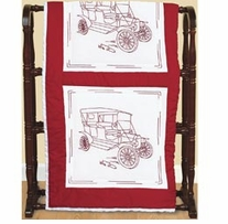 Stamped White Quilt Blocks Vintage Vehicles