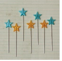 Star Trinket Pins Yellow and Turquoise