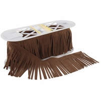Suede Fringe 4in Seal Brown