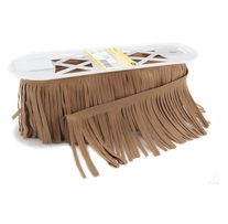 Suede Fringe 4in Tan