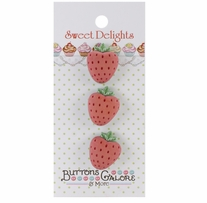 Sweet Delights Buttons Strawberries 3/pkg