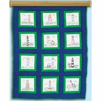 Themed Stamped White Quilt Blocks Lighthouses