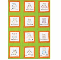 Themed Stamped White Quilt Blocks Owls 9inx9in 12/Pkg