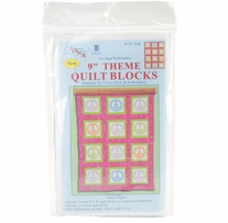 Themed Stamped White Quilt Blocks Peace Signs